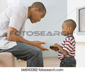 Stock Photo   African American Father Talking To Son  Fotosearch
