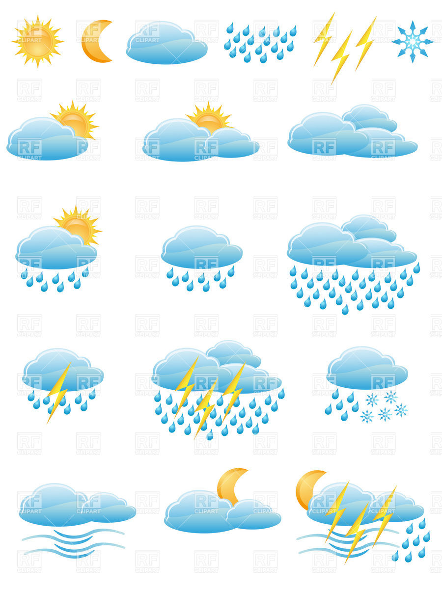 Weather Forecast And Meteorology Icons   Clouds Sun And Rain 19481