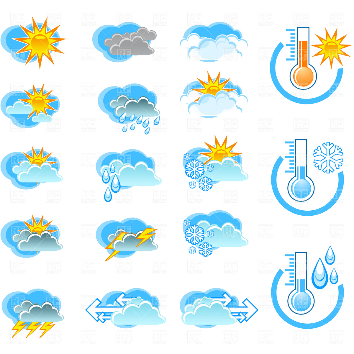 Weather Forecast Icons And Thermometers 4589 Download Royalty Free