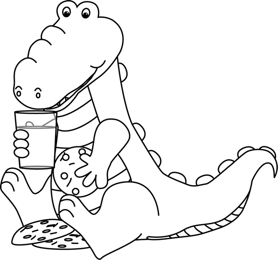 Black And White Alligator Eating Cookies Clip Art   Black And White