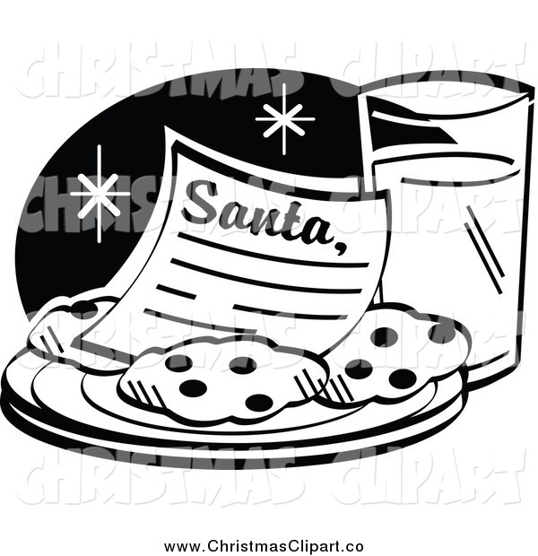 Black And White Santa Letter On A Plate With Cookies Served With Milk