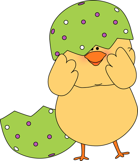 Easter Chick Stuck In Egg Shell Clip Art Image   Cute Easter Chick