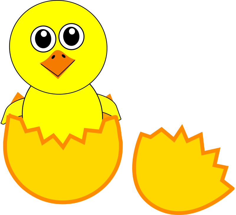 Free Clipart  Funny Chick Cartoon Newborn Coming Out From The Egg