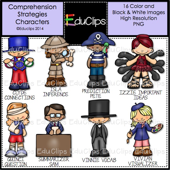 Home   Products   Comprehension Strategies Characters Clip Art Bundle
