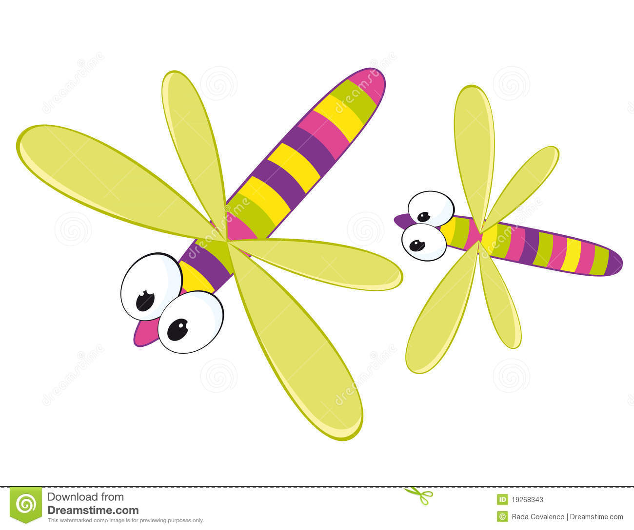 Two Cartoon Dragonfly  Cartoon Illustration