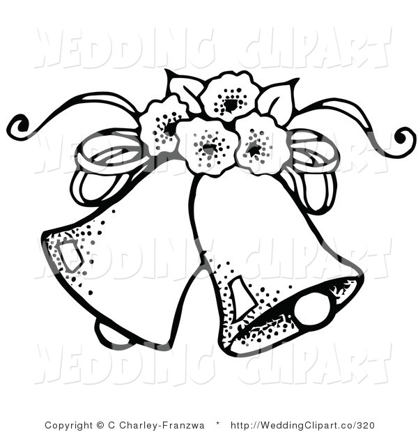 Vector Marriage Clipart Of Black And White Wedding Bells With Flowers