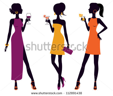 An Illustration Of Three Cocktail Party Women   Stock Vector