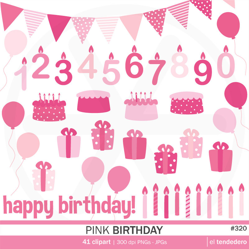 April Birthday Clipart Birthday Clipart Pack Quot Pink