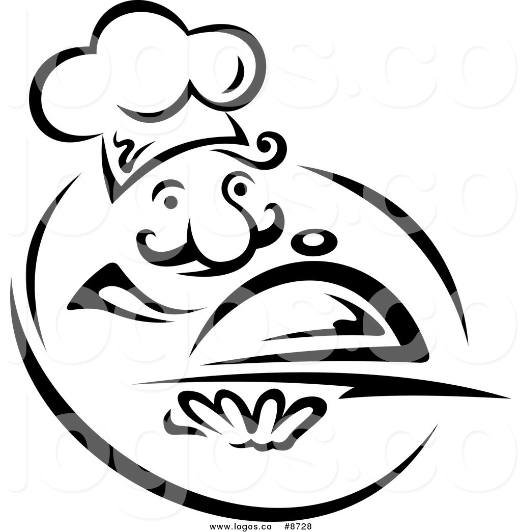 Black And White Chef With A Cloche Logo Black And White Chef Holding A
