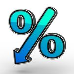Blue Percent Sign Denoting A Decrease Clipart
