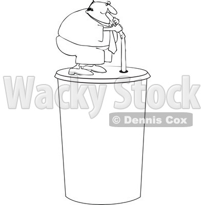 Clipart Outlined Chubby Man Drinking From A Straw On A Giant Fountain
