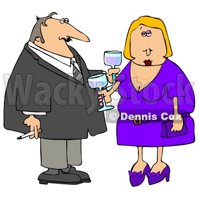 Couple Partying At A Cocktail Party Clipart   Djart  4931