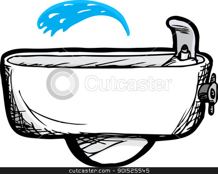 Drinking Fountain Stock Vector Clipart Ivory Wall Mounted Water