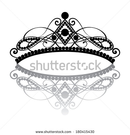 Feminine Tiara With Reflection  In Black Colour Isolated On White