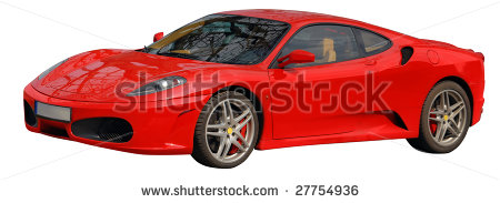 Ferrari Italian Car Image With Cut Out Path Isolated White