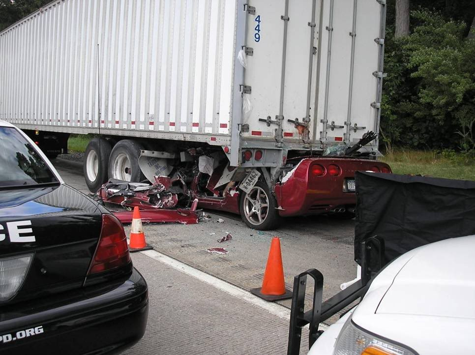 Is This Corvette Crash Photo A Result Of Texting While Driving