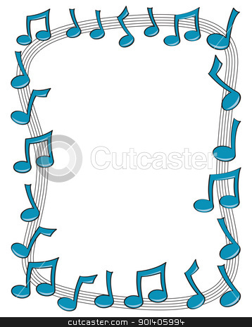 Music Note Border Stock Vector Clipart A Border Made Up Of Blue Music