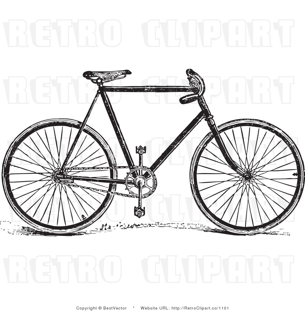 Royalty Free Black And White Retro Vector Clip Art Of A Bike By