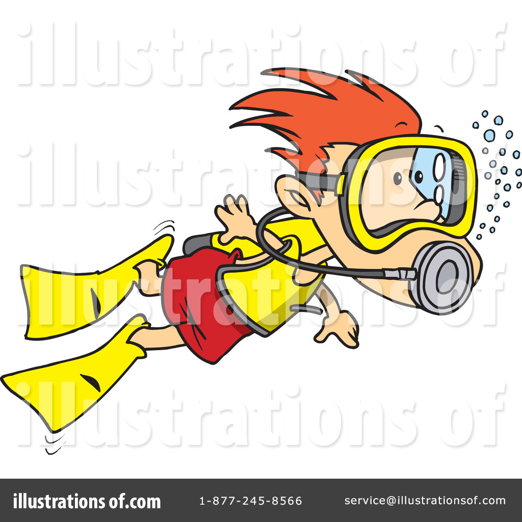 Royalty Free  Rf  Scuba Diver Clipart Illustration By Ron Leishman