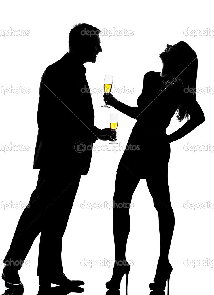 Silhouette Couple Man And Woman Drinking Champagne Partying   Stock