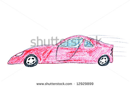 Smashed Car Drawing Child Drawing Of Red Speeding