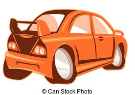 Sports Car Cartoon Rear   Vector Illustration Of A Cartoon