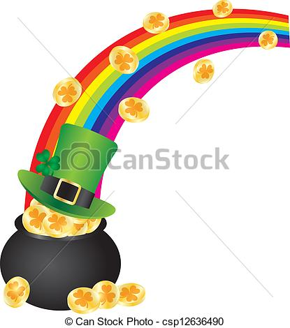 St Patricks Day Irish Leprechaun Hat With Rainbow On Pot Of Gold Coins