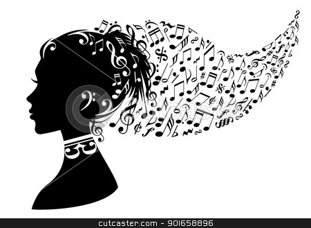 Woman With Music Notes Vector Stock Vector Clipart Woman Head With