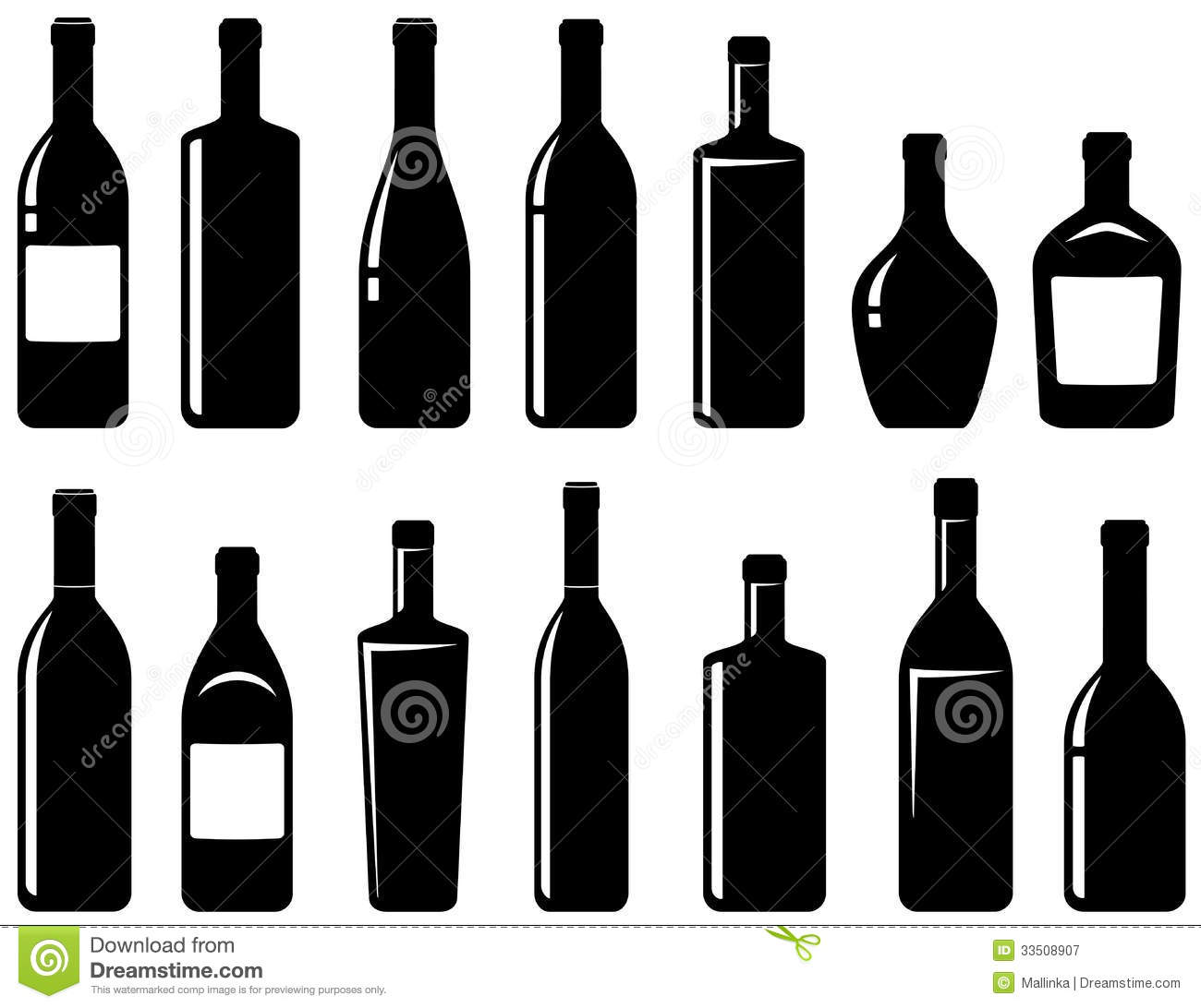 Liquor Bottle Black And White Clipart - Clipart Kid