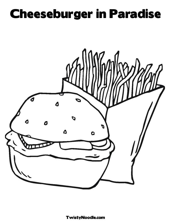 Cheeseburger In Paradise Coloring Page Jpg