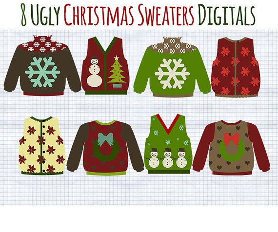 Christmas Clip Art   Ugly Christmas Sweater Clipart   Holiday Graphics