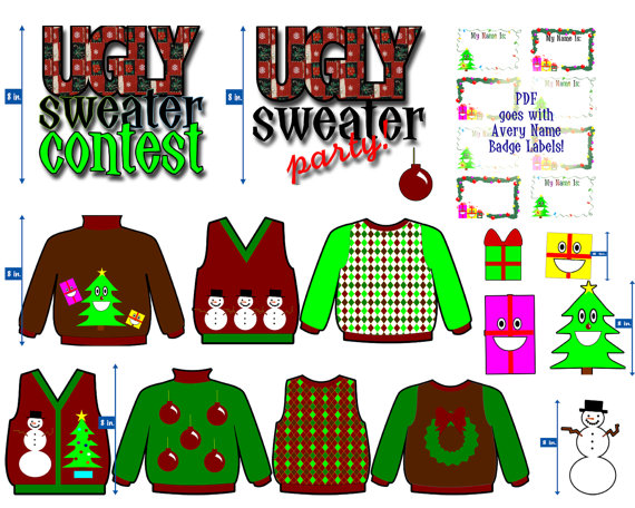 Christmas Clip Art   Ugly Sweater Party   Holiday Graphics   Tacky