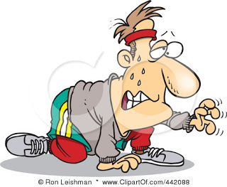 Clip Art Illustration Of A Cartoon Sweaty Man Exercising For His New