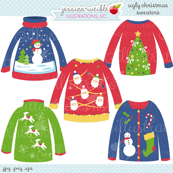 Clipart   Commercial Use Ok   Christmas Sweater Graphics   Christmas