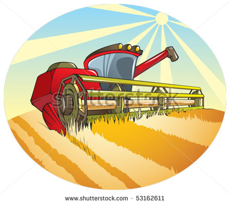 Harvesting Machine  Combine  On The Wheat Field Vector Illustration