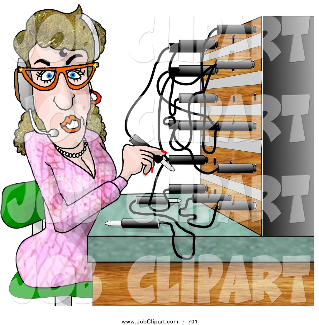 Vector Young Beautiful Girl Telephone Operator Stock ...