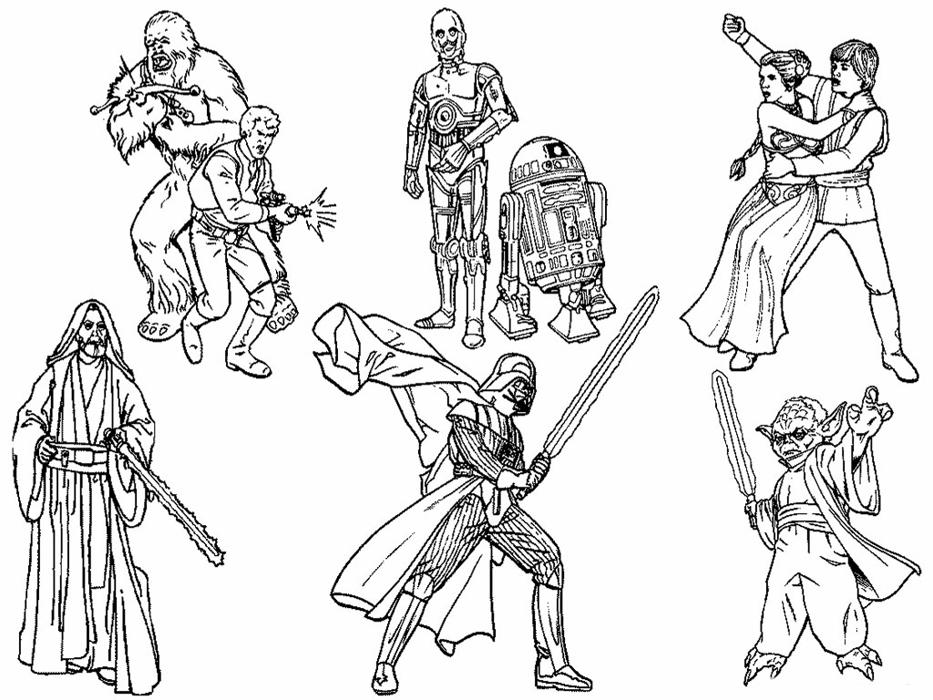 Star Wars Characters Black And White Clipart Clipart Suggest