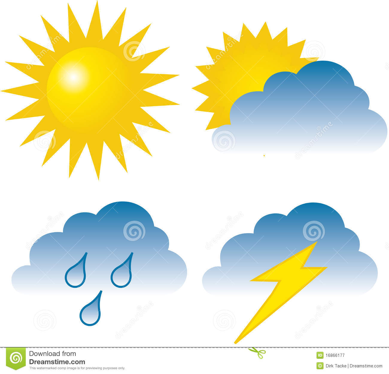 Stock Photography  4 Weather Icons  Sunny Overcast Rain   Lightning