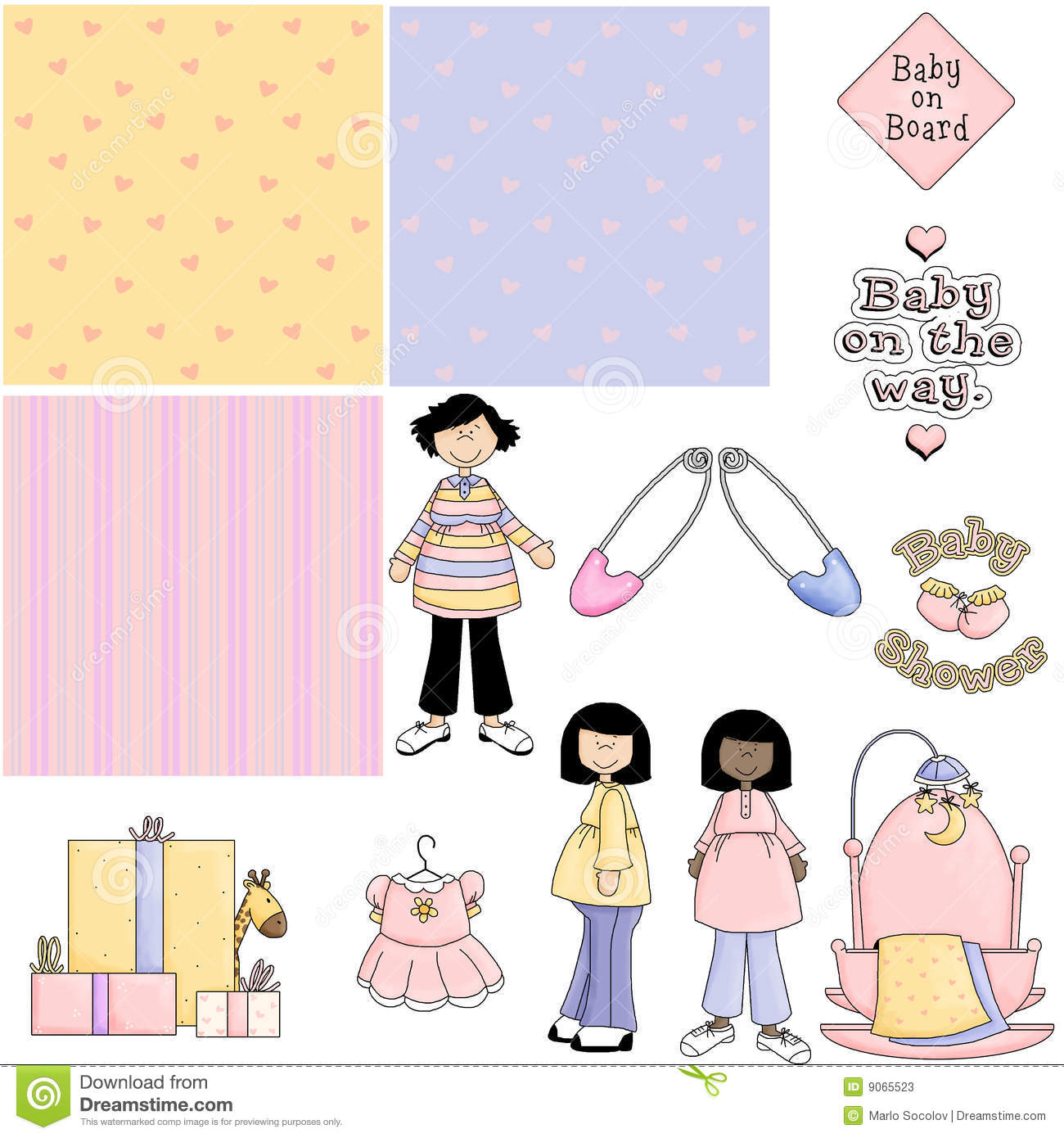 Stock Photos  Baby Shower Pink 2 Clipart  Image  9065523