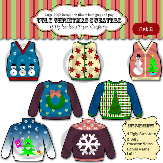 Ugly Christmas Sweater Clip Art Clipart For Party By Digibonbons