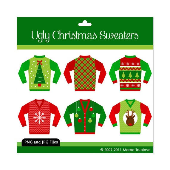 Ugly Christmas Sweaters Clipart Digital Clip Art By Mareetruelove  3