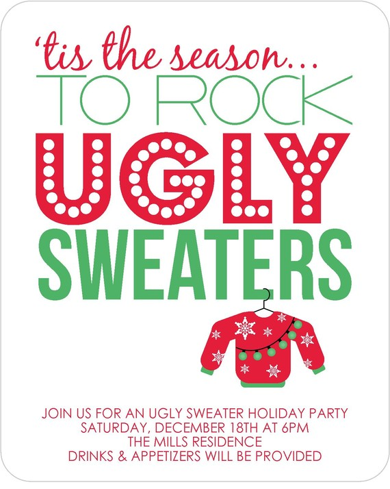 Ugly Sweater Party Invitations Set Of 12 By Garvinandco On Etsy