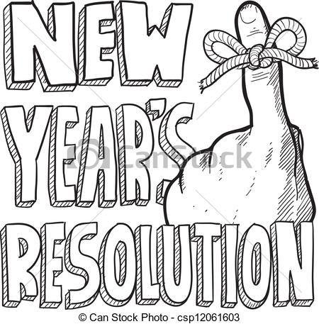 Vector Clipart Of New Years Resolution Sketch   Doodle Style New Years