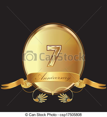 7th Anniversary Birthday Seal In Gold Design With Bow Icon Vector  Kid