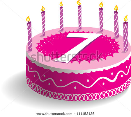 7th Clipart Seventh Birthday Cake   Stock