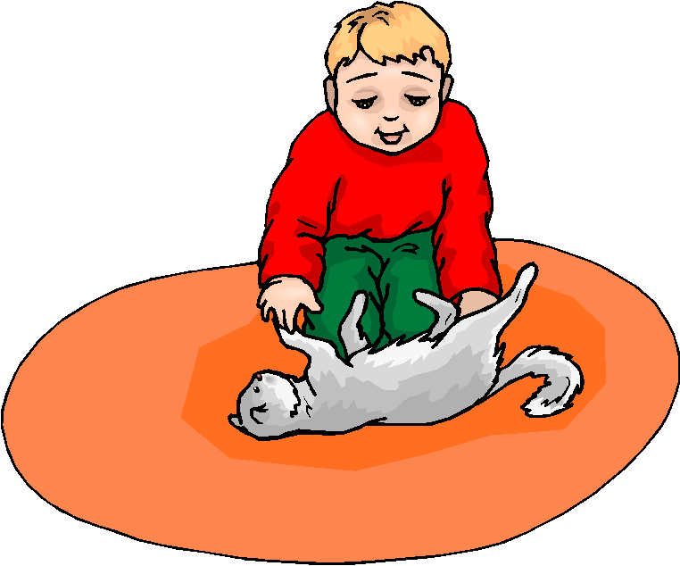 Boy Play With Cat Free Clipart