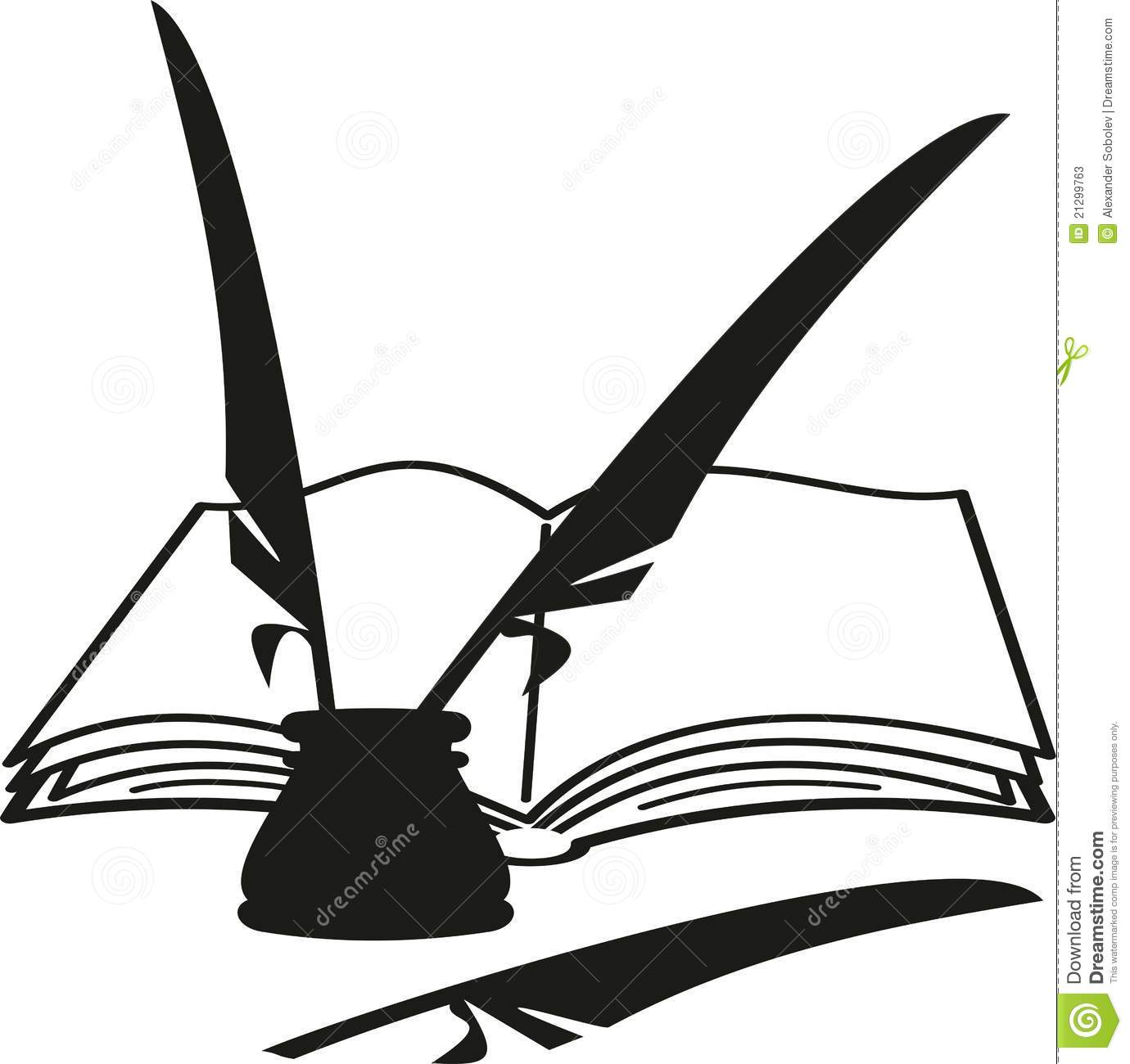Cartoon Book Inkwell And Feathers  Quill  Stock Photos   Image