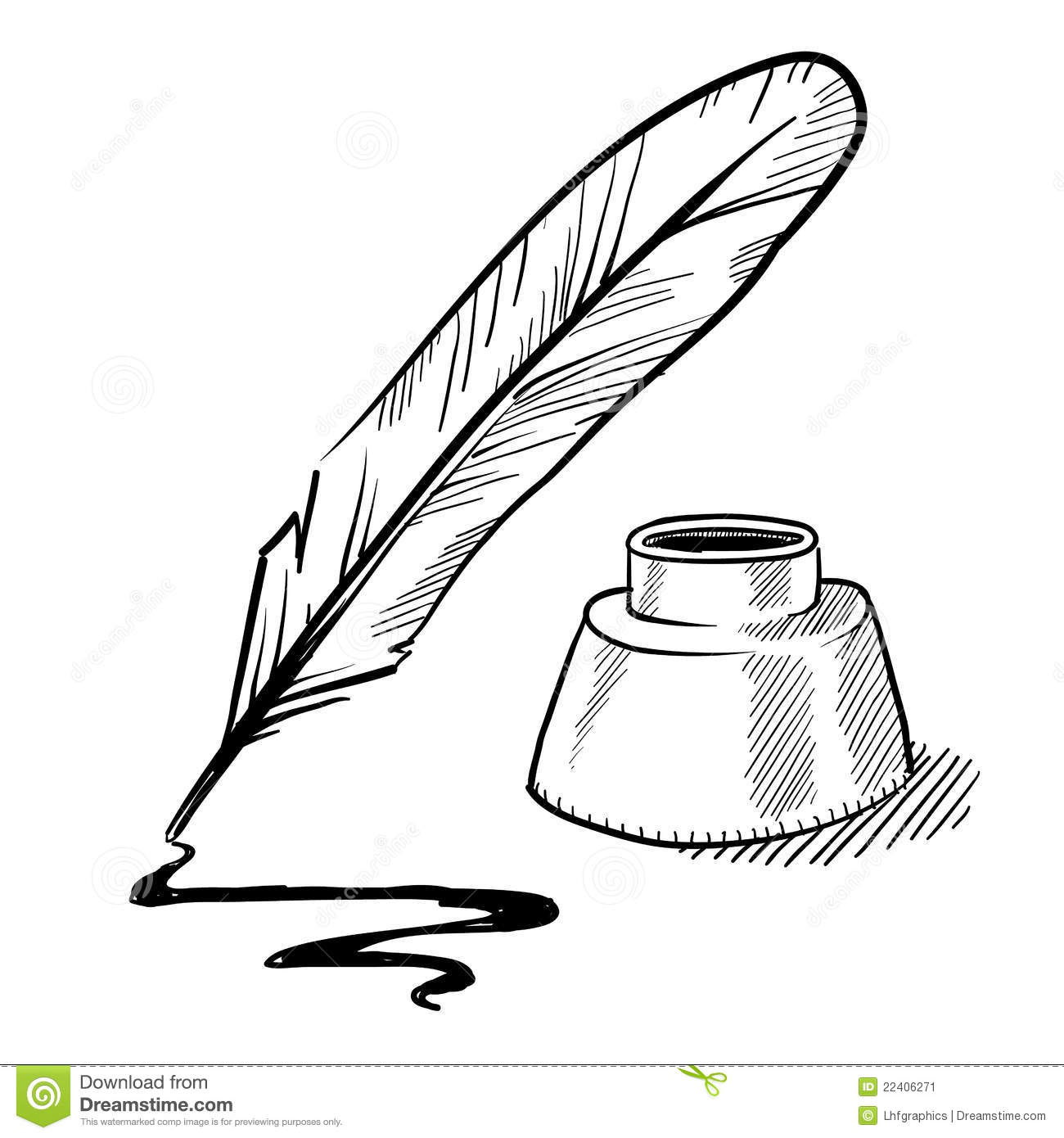 Doodle Style Feather Quill Pen And Ink Well Illustration In Vector
