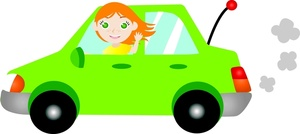 Driving Clipart Image   Young Woman Or Teen Girl Driving A Car