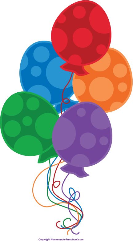 Homemade Preschool Comfree Birthday Balloons Clipart